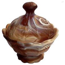 Imperial Chocolate Slag Glass Lidded Bowl