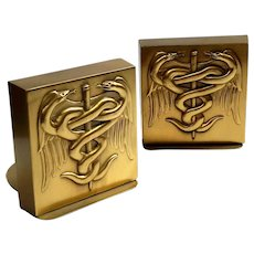 PM Craftsman Physician Serpent And Staff Brass Bookends