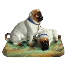 19th Century Staffordshire Pottery Figure Of Two Pug Dogs