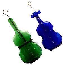 Pair Of Violin Bottles From The Dell Glass Company Of Millville New Jersey, Circa 1930