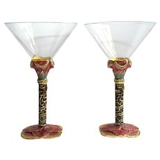 Pair Of 2 SAINTS Swarovski Crystal Jeweled Enameled Martini Glasses