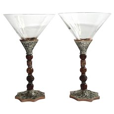 Pair Of 2 Saints Metal And Stone Bead Stemmed Martini Glasses