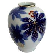Japanese Arita Fukagawa Porcelain Floral Vase