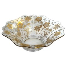 Fostoria Glass Etched Gold Floral Bowl