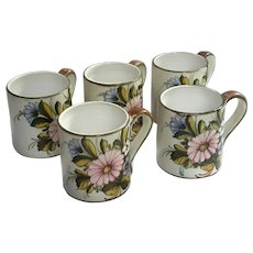 Set Of Five Signed L. C. Da Castelli Italian Pottery Mugs