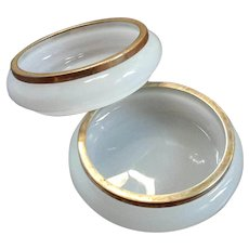Pair Of French Opaline Glass Vanity Dishes With Gilt Metal Mounts