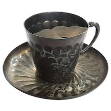 Meriden B Company Silver Plated Mustache Cup And Saucer