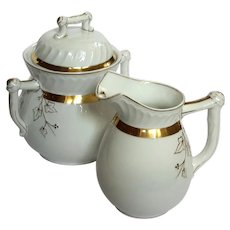 19th Century French Limoges Porcelain Cream And Sugar