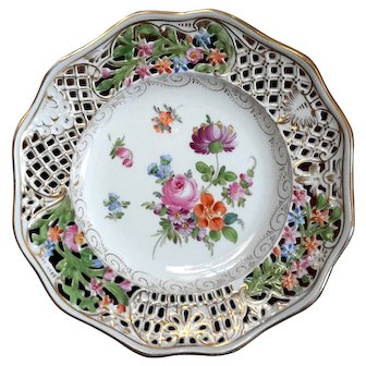 Dresden Reticulated Floral Plate