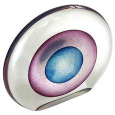 Signed Robert Eickholt Disc Glass Paperweight
