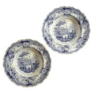 Pair Of Early 19th Century Staffordshire Italian Villas Bowls