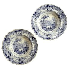 Pair Of Early 19th Century Staffordshire Italian Villas Bowls