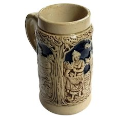 Antique German Stoneware Little Red Riding Hood Child's Mug