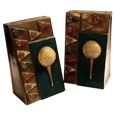 Pair Of Bronze Clad Golf Ball Bookends
