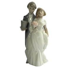 Retired Lladro Bride And Groom Cake Topper #6164