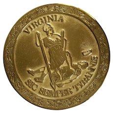 Virginia Metalcrafters Sic Semper Tyrannis Brass Trivet