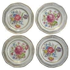Set Of Eight Royal Hanover Bavarian Pierced Floral Plates