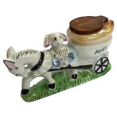 Vintage Japanese Lusterware Porcelain Bunny On Donkey