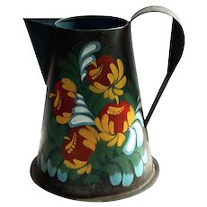 Vintage Floral Painted Toleware Pitcher
