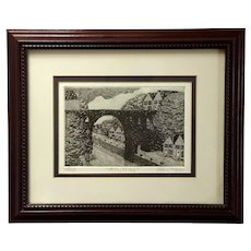 Etching By New York Artist DeAnn L Prosia Titled Stone Bridge