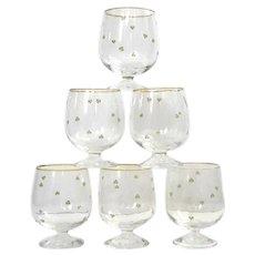 Set Of Six Lucky Clover Glass Snifters