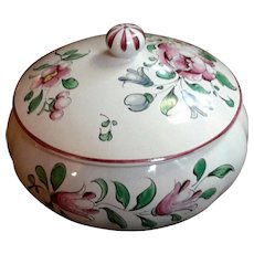 French Luneville Faience Pottery Round Lidded Bowl