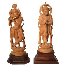Pair Of Hand-Carved Anglo-Indian Wood Deity