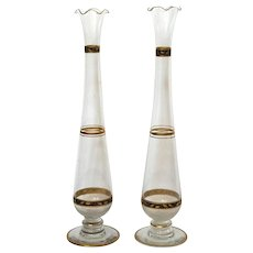 Pair Of Hawkes Gilt Decorated Glass Vases