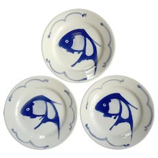 Set Of Four Chinese Koi Plates