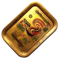 Signed George Briard Gilt Metal Tole Tray
