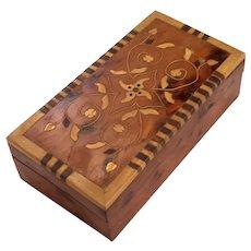 Vintage Folk Art Inlaid Wood Box