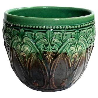 Antique Majolica Pottery Jardiniere