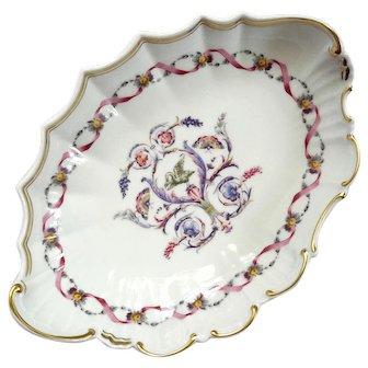 Vintage Richard Ginori Oval Pink Ribbon Porcelain Bowl