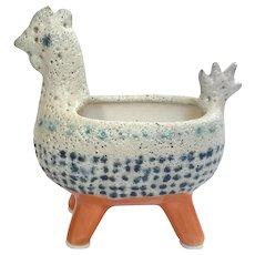 Mid-Century Modern Lava Glaze Pottery Rooster