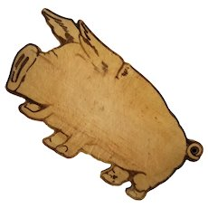 Vintage Folk Art Wooden Pig Cutting Board