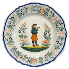 French Henriot Quimper Faience Pottery Plate