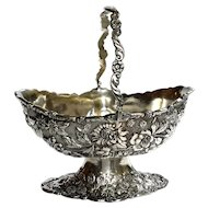 Silverplated Repousse Floral Handled Pedestal Bowl