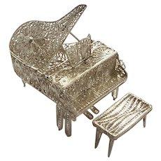 Venetian Silver Filigree Grand Piano