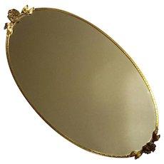 Vintage Italian Gilt Metal Vanity Mirror Tray
