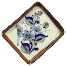 Vintage Traditional Glazed Mexican Pottery Tray