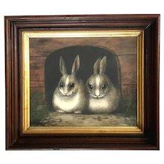 19th Century Signed Folk Art Painting In Walnut Frame