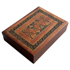 Vintage Wooden Playing Card Box
