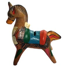 Vintage Mexican Pottery Horse Bank