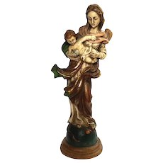 Vintage Italian Carved Wood Madonna And Child Figure