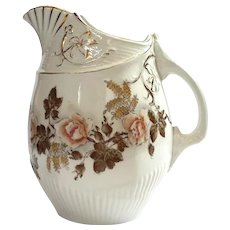 19th Century English Victorian Floral Semi-Porcelain Pitcher
