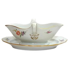 Meissen Porcelain Sauce Boat With Attached Liner