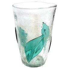 Large Vintage Blenko Crackle Glass Applied Leaf Vase