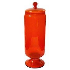 Mid-Century Modern Italian EMPOLI Glass Apothecary Jar