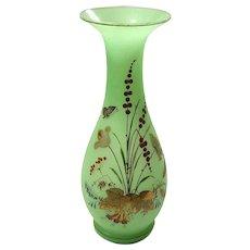 Antique Green Opaline Bristol Glass Vase