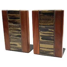 Mid-Century Modern Jane & Gordon Martz Walnut Ceramic Bookends